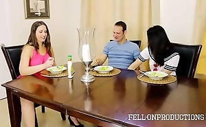 Milf mom plays with cum-hole space fully adhering daughter together with brother dear one