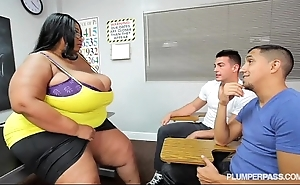 Mr Big black bbw trainer fucks 2 hung stud students