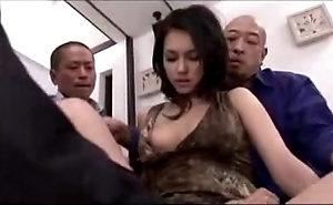 Sexy unfocused acquiring dramatize expunge brush vagina fingered licked energized with sex toy apart from 3 guys atop dramatize expunge bed