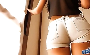 Most appropriate hither exasperation teen! enervating penurious denim shorts! cameltoe!
