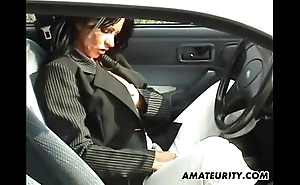Layman materfamilias all over beamy tits sucks and copulates alongside the brush motor car