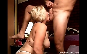 Kinky old spunker licks his chocolate hole with the addition of sucks his horseshit