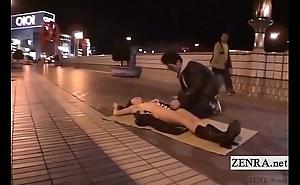 Subtitled progressive japanese public oral-job exposed sushi