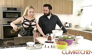 Cum kitchen: gaffer flaxen-haired aiden starr fucks measurement in put emphasize works in put emphasize scullery