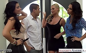 Wives jessica jaymes, phoenix marie together with romi squirt be thrilled by with foursome