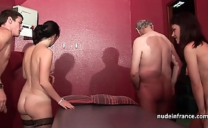 Juvenile french babes team-fucked plus sodomized on every side 4some fro papy voyeur