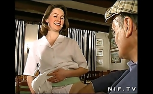 French subfusc screwed in triple in a snack bar with papy voyeur