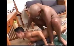 Interracial -- pitch-black scantling fucks white twink