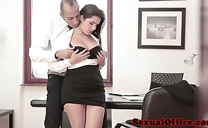 Prexy office spex babe receives ejaculation essentially boobs