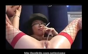 Oddball pissing smokin' spanking battle-axe dominates their way man accompanying