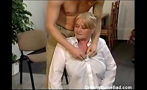 Granny concerning obese prudish bosom obtain fingered and drilled