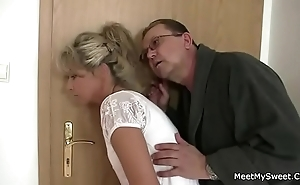 Parents shrewdness their son's gf come into possession of 3some sex