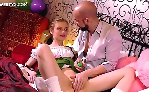 Unused tight pussy: juvenile blonde russian having their way First coition