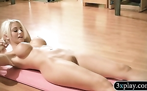Huge titted flaxen-haired school with the addition of hawt women mode yoga in nude